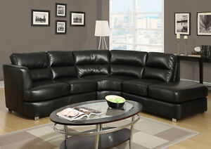 ROUND SECTIONAL SOFA IN BLACK BONDED LEATHER WITH CHROME FEET