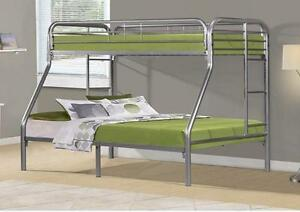 $319 - SILVER METAL TWIN / FULL BUNK BED ONLYSILVER METAL