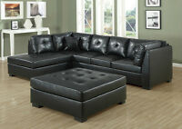 849$ *** Bonded Leather Sectional -- Very comfortable!* Black