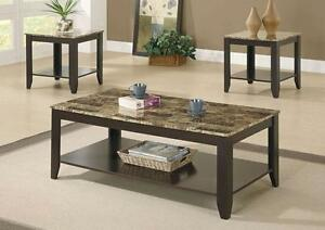 $249 - CAPPUCCINO / MARBLE TOP 3PCS PROMOTIONAL TABLE SET