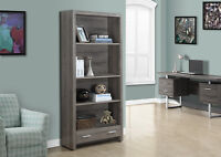 BOOKCASE IN TAUPE WOOD WITH DRAWER & ADJUSTABLES SHELVES