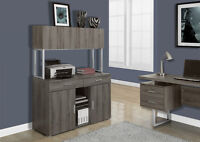 RANGEMENT CABINET FOR OFFICE IN ESPRESSO OR TAUPE WOOD & METAL