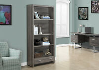 BOOKCASE WITH DRAWER IN TAUPE WOOD WITH ADJUTABLE SHELVES