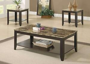 $249 - 3 PCS CAPPUCCINO / MARBLE TOP TABLE SET  -- Free Delivery !