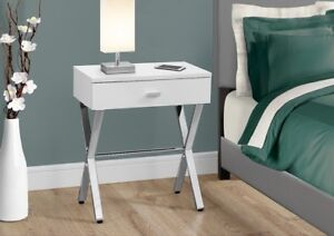 Modern night tables with silver cross legs & 1 drawer