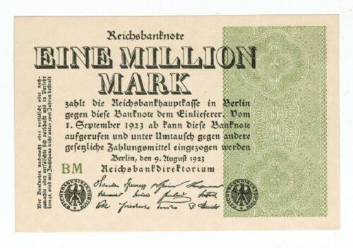 GERMANY REICHSBANKNOTE 1 MILLION MARK BERLIN 1923 UNC