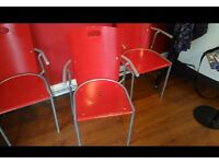 4 red salon / waiting room chairs trendy