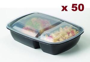 "Black 30 oz. 8"" x 6'' X 2'' Rectangular 2 Compartment Microwaveable Take Out Container with Lid 50/CS"