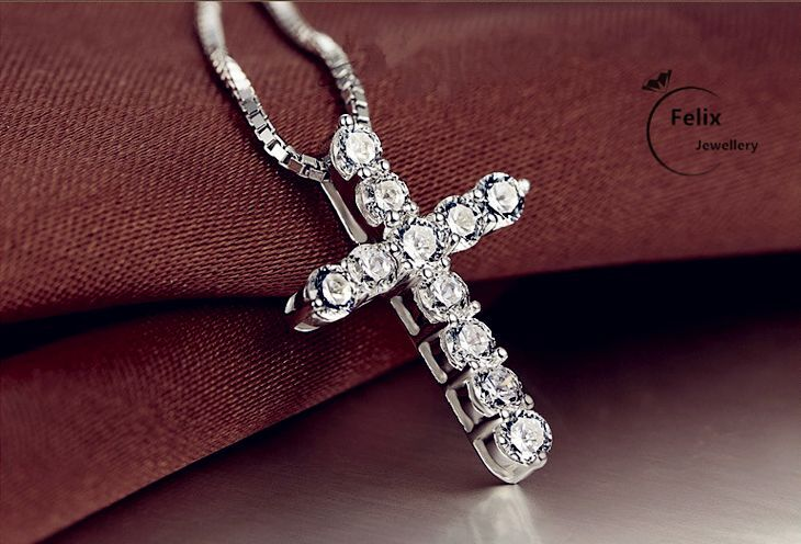 Jewellery - Crystal Cross Pendant Necklace 925 Sterling Silver Chain Womens Jewellery Jesus
