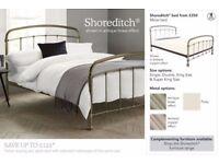 King Size Metal Bed Frame - NEXT Shoreditch Brass