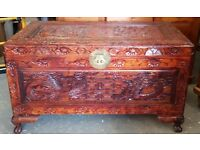 Carved Chinese Ottoman Coffer Linen Chest Or Trunk Blanket Box