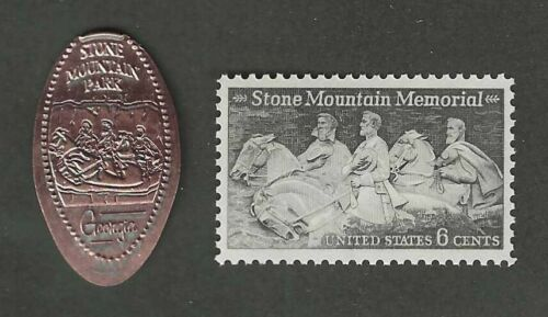 STONE MOUNTAIN GA - CONFEDERATE MEMORIAL - ELONGATED PENNY + U.S. POSTAGE STAMP