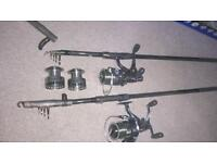Shakespeare 12ft telescopic carp rods and reels