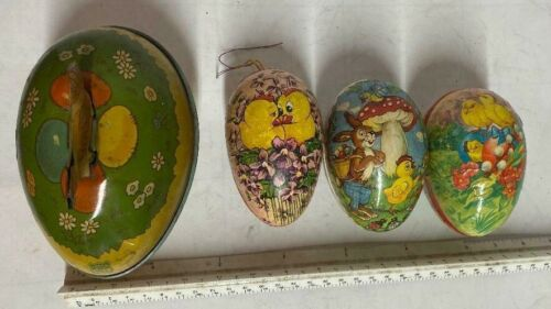 LOT 4 Vintage Easter Egg Candy Container Chein Metal German Paper Mache