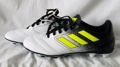 san francisco 65396 7235a Adidas Ace 17.4 FG NEW Youth Boys BA8564 Black Yellow White Soccer Cleats  Size 5