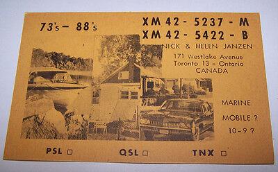 Vintage QSL CARD Nick & Helen Janzen TORONTO ONTARIO CANADA