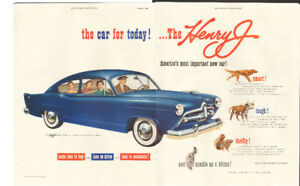 2-page color magazine ad for 1950 Henry J. Kaiser automobile