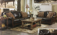 ASHLEY FURNITURE BLOWOUT SALE!!!!  ANTIQUE STYLE BONDED LEATHER