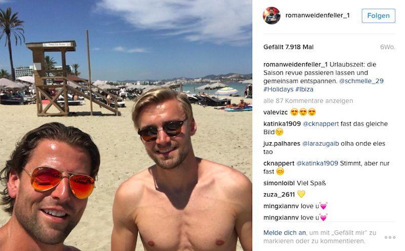 Ebenfalls im Gepäck: BVB-Teamkollege und Freund Marcel Schmelzer. (Bild: Instagram/ @romanweidenfeller_1)