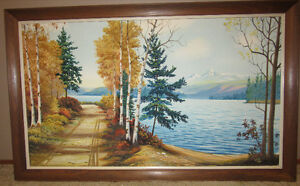 "Sanford Fisher Oil Painting Large 32""x 52"" Professionally Framed"