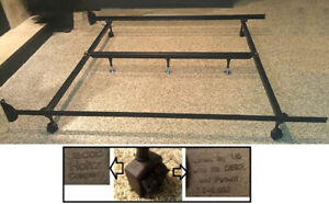 Made in USA! Rolling Heavy Duty KING Metal Bed Frame / Rails