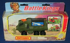 Vintage MATCHBOX BATTLE KINGS Diecast Toy K-111 Missile Launcher Truck Set Boxed