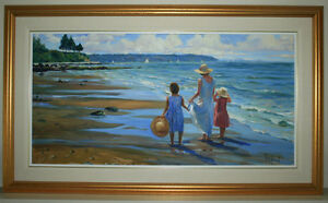 'Mother & Girls at 'West Bay' - original oil by Ron Hedrick