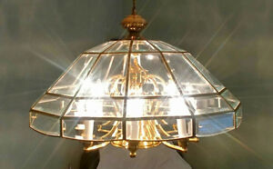 4 Tier Beveled Glass & Brass Chandelier
