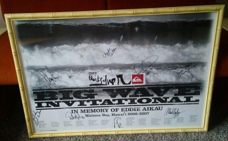 2006 Quiksilver Big Wave Surfing Contest Poster Eddie Aikau Hawaiian Autographed