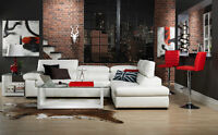 GENUINE LEATHER SECTIONAL w/ ADJUSTABLE HEADRESTS 3 COLORS!