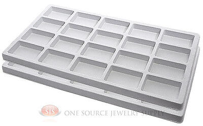 2 White Insert Tray Liners W 20 Compartments Drawer Organizer Jewelry Displays