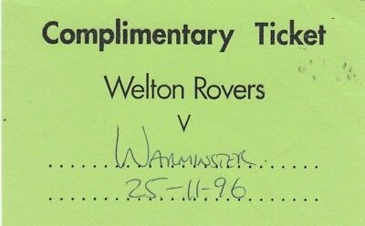 Ticket - Welton Rovers v Warminster Town 25.11.96