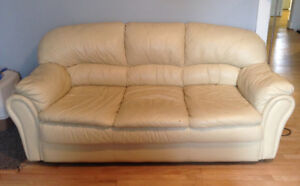 Off-white / beige leather couch