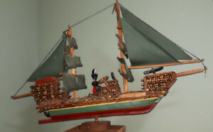 1960s Folk art pirate ship - 4 ft