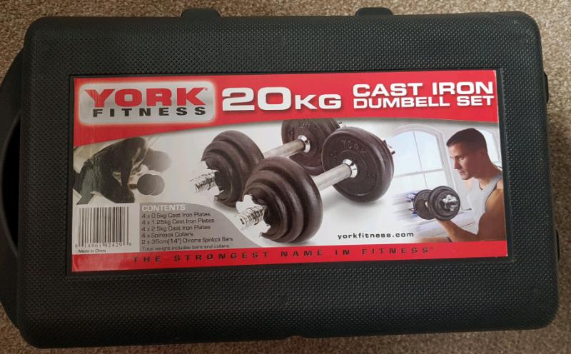 282bddfb117 York Fitness 20kg Cast Iron Dumbell