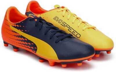 BNIB PUMA evoSPEED 17.5 FG Jr Football Boots, Yellow, Peacoat, Orange Size UK 2