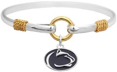 Penn State Nittany Lions Two Tone Silver Gold Cuff Bracelet Charm Jewelry PSU