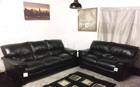 °° Ex display Real leather Black 3+2 seater sofas