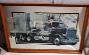 Wooden framed decorative mirror back truck print wall hanging London Ontario image 5