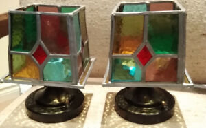 Outdoor/Indoor STAINED GLASS & pewter light fixtures