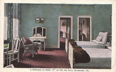 Postcard A Bedroom Suite C De Soto Hotel Savannah - Savannah Bedroom Collection