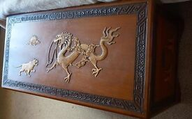 Antique circa 1930 Handmade Ornately Carved Chinese Camphor Chest