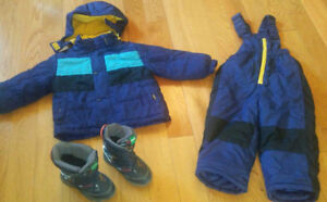 Boys Snowsuit (Size 3) and Winter Boots (Size 10)