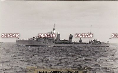 "Royal Navy Real Photo RPPC. HMS ""Arrow"". A-class destroyer. Built Barrow. 1937"