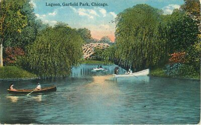 Boats 1916 CHICAGO ILLINOIS Lagoon Garfield Park Rigot postcard 4269