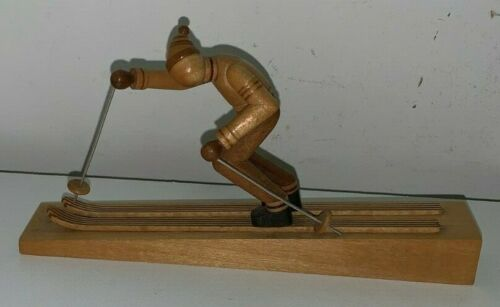 Carved Wooden Skier (B. Borowik, S. Borowik, Made in Poland)