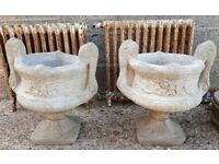 Pair Of Reconstituted Stone Garden Planters With Twin Handles