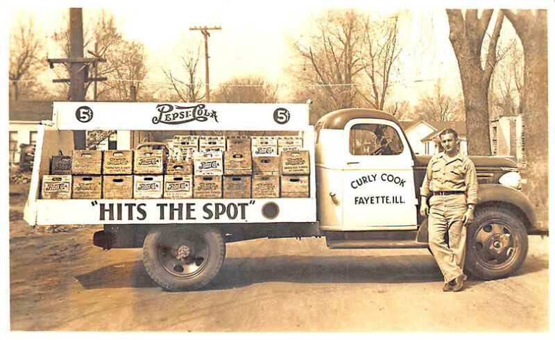 Fayette IL Curly Cook 5¢ Pepsi:Cola Delivery Truck Real Photo Postcard