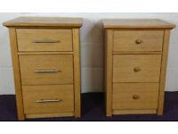 Bedside Drawers Tables Oak Veneer - RRP £179.99