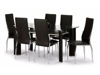 **Glass dining table & 6 brown leather effect chairs**